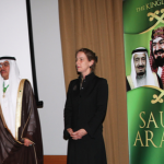 The chargé d'affaires of the Saudi Embassy in Australia, H. E. Reda Al-Nuzha and the Chief of Protocol Sally Mansfield, exchanged the warmest congratulations and best wishes for both countries at  the reception at the Hayat Hotel in Canberra on the occasion of the 82 National Day of the Kingdom of Saudi Arabia